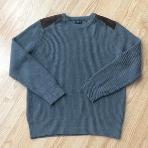 J. Crew gray pullover with brown shoulder patch-L